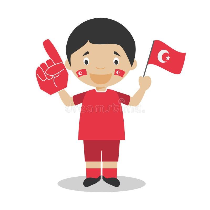 从土耳其的全国体育队爱好者有旗子和手套传染媒介例证的 库存例证