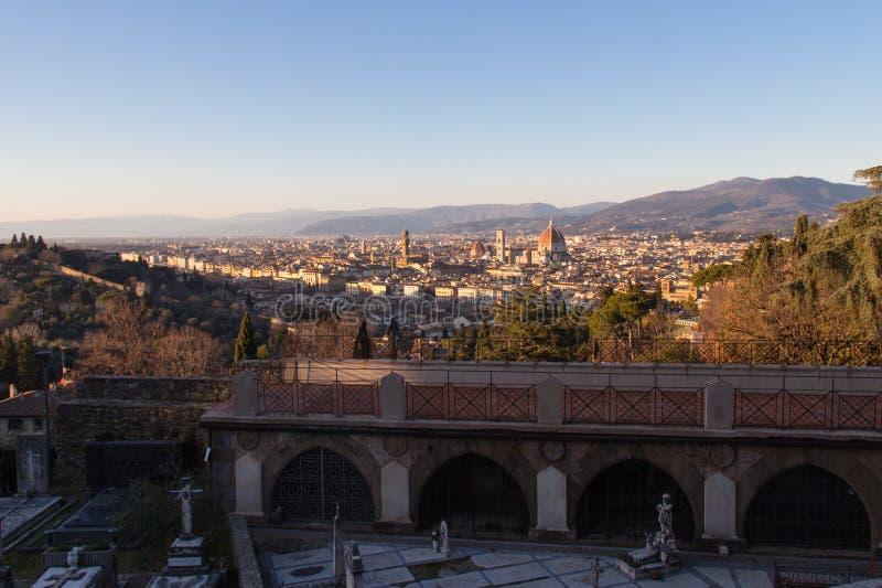 从圣米尼亚托Al Monte的看法佛罗伦萨 托斯卡纳 意大利 免版税库存图片