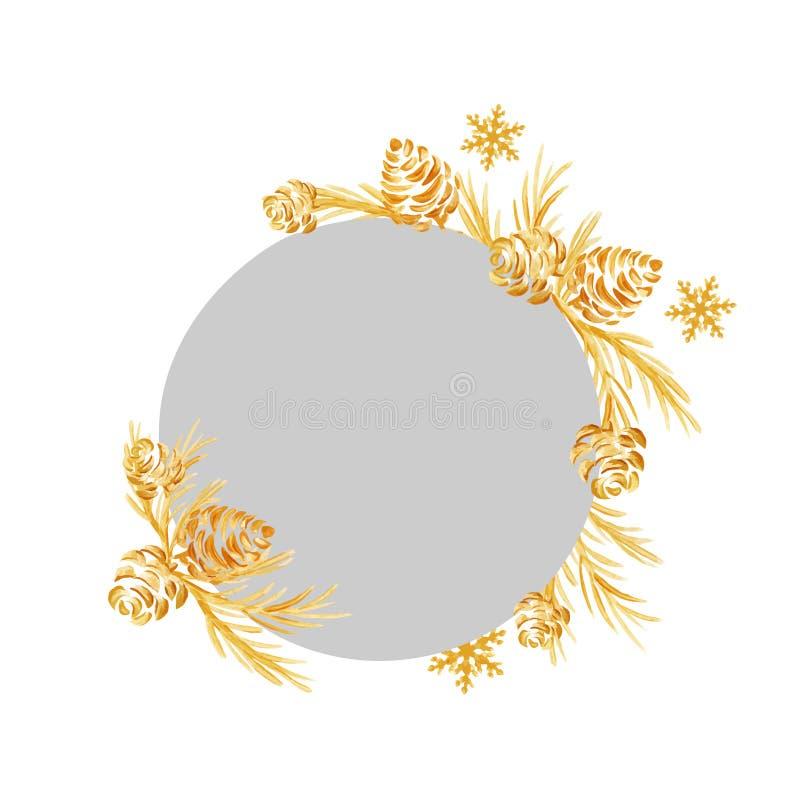从圣诞树和锥体的手拉的圣诞节框架 背景上色节假日红色黄色 金黄纹理 独特手拉 皇族释放例证