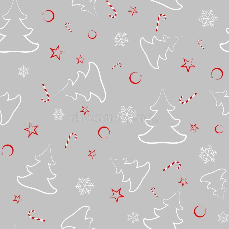 从圣诞树,新年的球,星,糖果,雪花缎带包装的无缝的样式在新年 库存例证