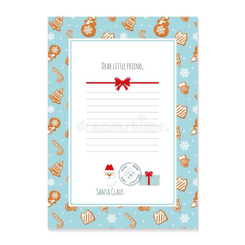 从圣诞老人模板的圣诞节信件 在A4大小的布局 样式用在样片加的姜饼曲奇饼 库存例证