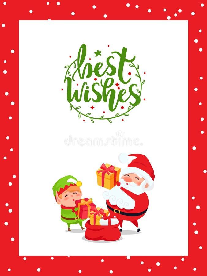 从圣诞老人项目,准备礼物的矮子的祝福满满 库存例证