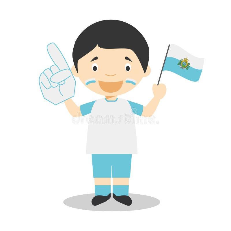 从圣马力诺的全国体育队爱好者有旗子和手套传染媒介例证的 库存例证