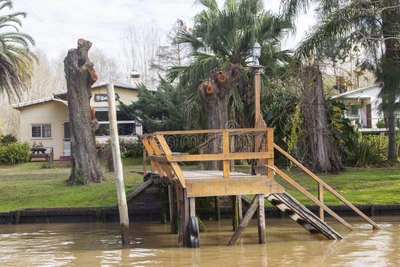 从在三角洲del巴拉那,蒂格雷布宜诺斯艾利斯阿根廷的小船看见的木船坞 免版税库存照片