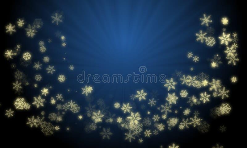 从在梯度蓝色背景的发光的金子颜色雪剥落创造的圣诞节花圈用光芒光在中心 向量例证
