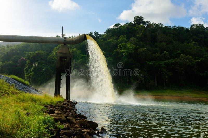 从在水的生产的流失浇灌 免版税库存照片