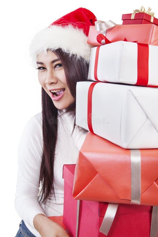 从在白色查出的圣诞老人的圣诞节礼品 库存图片