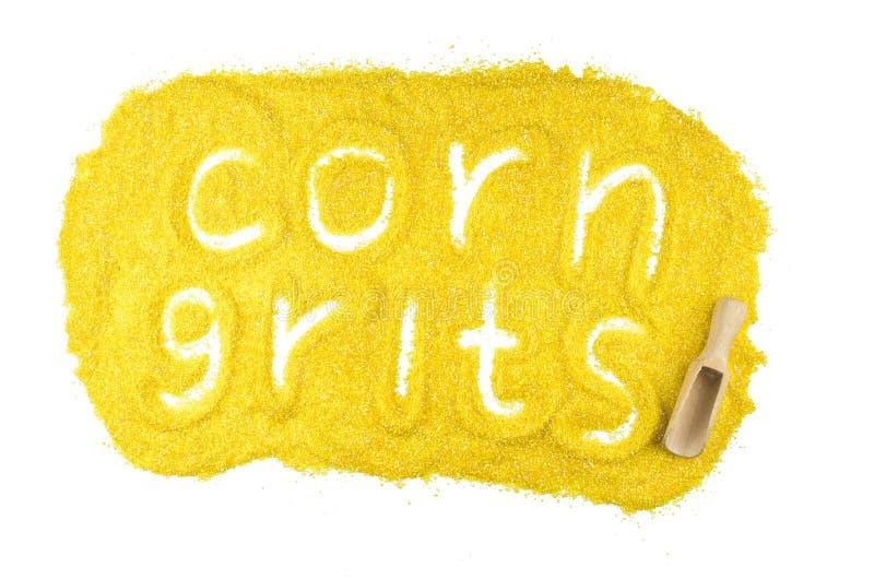 从在白色背景与词隔绝的玉米渣的板材 做在选择空白文字的背景现有量 俄国自然有用的饮食产品 平的顶视图 免版税图库摄影