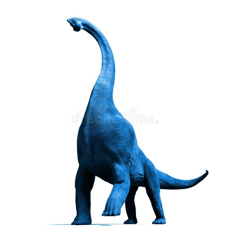 从在白色背景隔绝的晚侏罗纪蓝色3d例证的腕龙altithorax 皇族释放例证