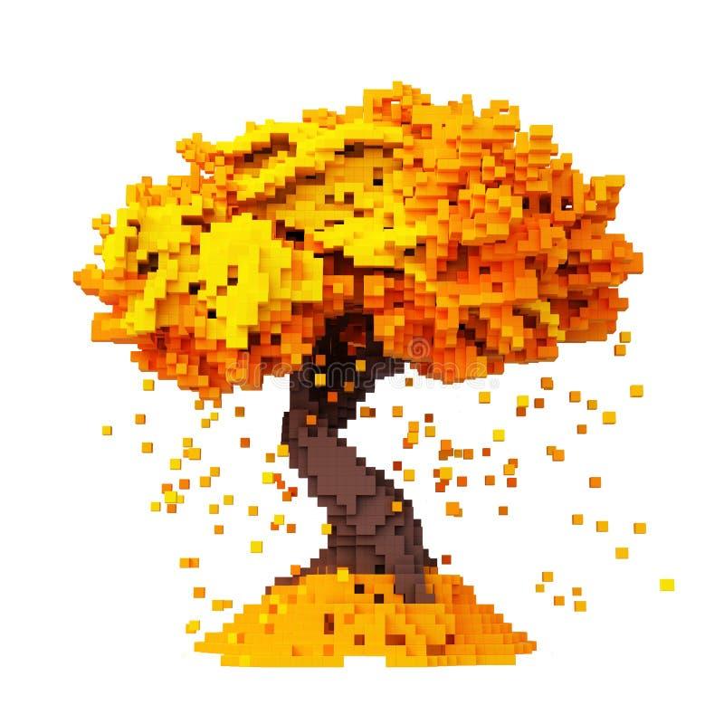 从在白色背景隔绝的秋天树的数字Pixelated落的叶子 库存例证