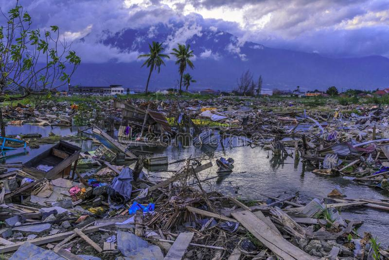 从地震和液化的严重损伤 库存图片