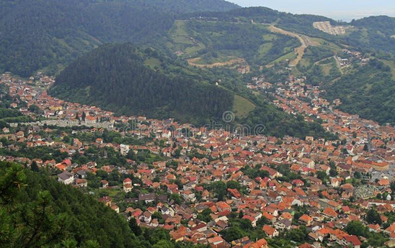 从坦帕山的顶端看法在布拉索夫市 免版税库存照片