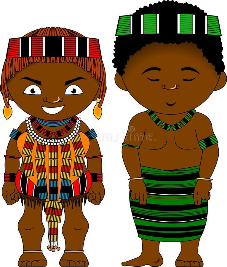 从埃塞俄比亚Hamer部落的快乐的非洲夫妇 向量例证
