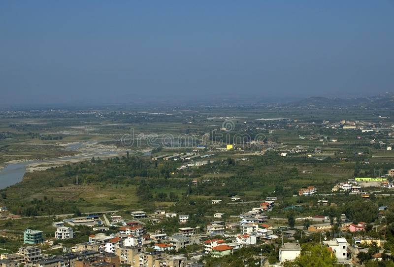 从城堡的视图, Berati,阿尔巴尼亚 免版税库存图片