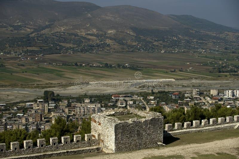 从城堡的视图, Berati,阿尔巴尼亚 免版税库存照片