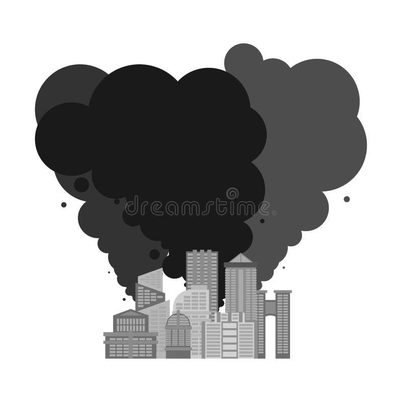 从城市的废气 危机生态学环境照片污染 工厂和po 库存例证