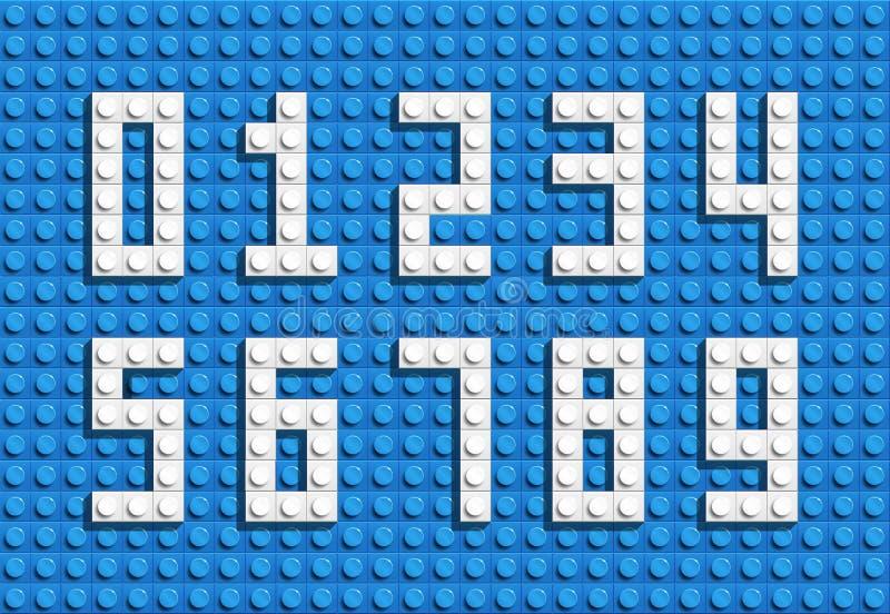从塑料大厦lego砖的传染媒介数字 五颜六色的lego数字 蓝色lego背景 皇族释放例证