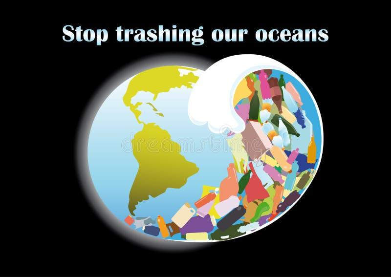 从塑料残骸的海啸波浪 向量例证