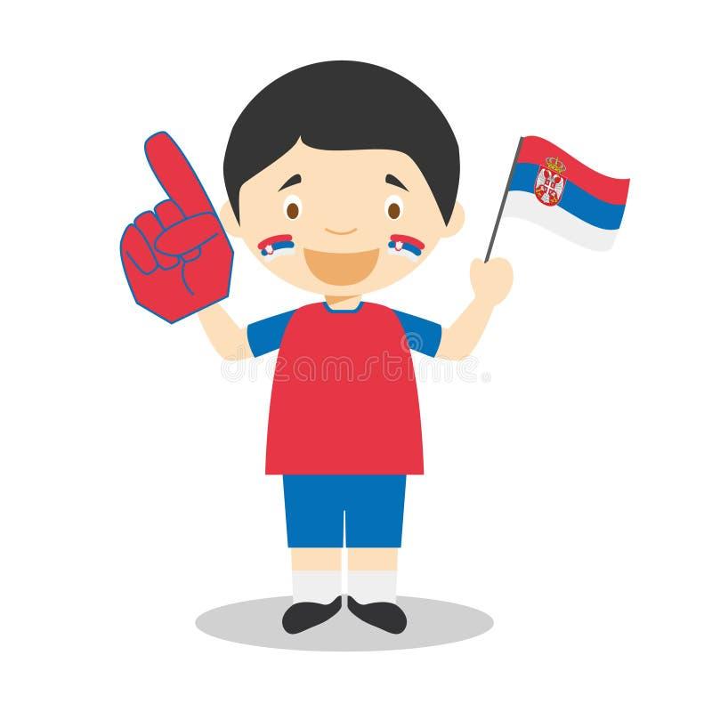 从塞尔维亚的全国体育队爱好者有旗子和手套传染媒介例证的 向量例证