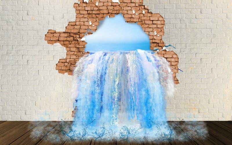 从墙壁的秋天 从孔的水流量在墙壁 皇族释放例证