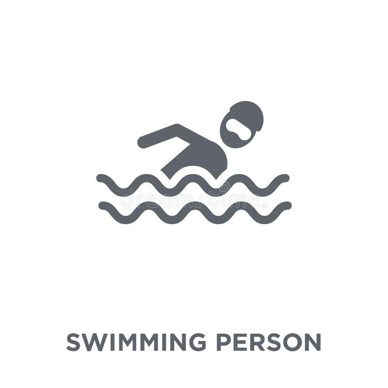 从夏天汇集的游泳的人象 向量例证