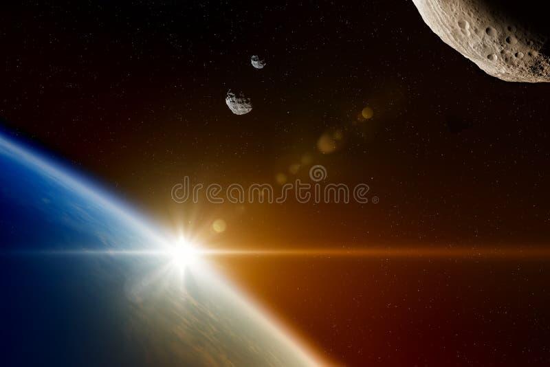 从外层空间的危害小行星接近行星地球 皇族释放例证