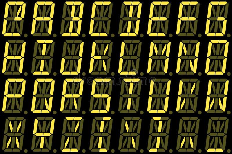 从大写字母的数字字体在黄色字母数字的LED显示 免版税库存图片