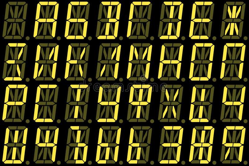 从大写字母的数字斯拉夫语字母的字体在黄色字母数字的LED显示 免版税库存图片