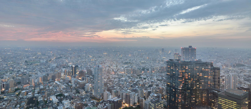 从大城市政府大厦观察台的日落视图 新宿 东京 日本 免版税图库摄影