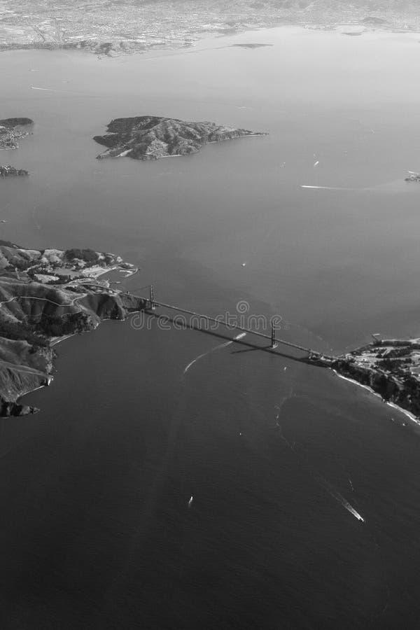 从天空的金门大桥 库存照片