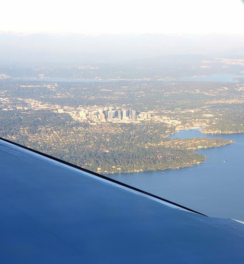 从天空的Bellevue华盛顿 库存照片