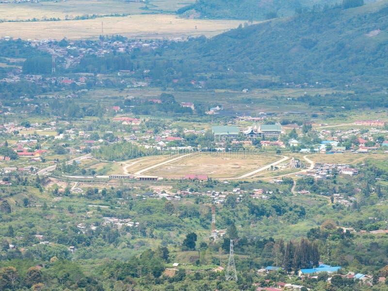 从天线的跑马场视图在Takengon,亚齐Tengah,印度尼西亚 库存图片