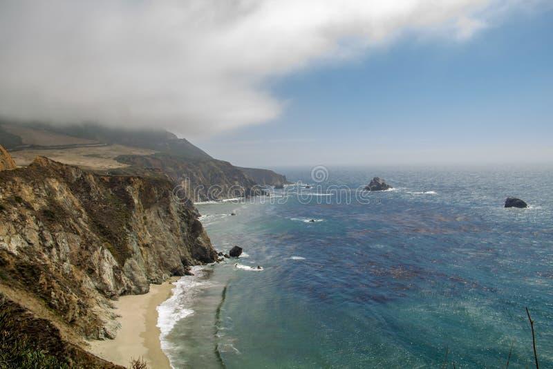 从太平洋海岸高速公路的看法不 1在海洋在加利福尼亚 免版税库存照片