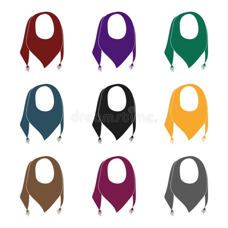 从太阳的蓝色夏天班丹纳花绸 与结的班丹纳花绸在末端 围巾和披肩选拔在黑样式传染媒介的象 皇族释放例证