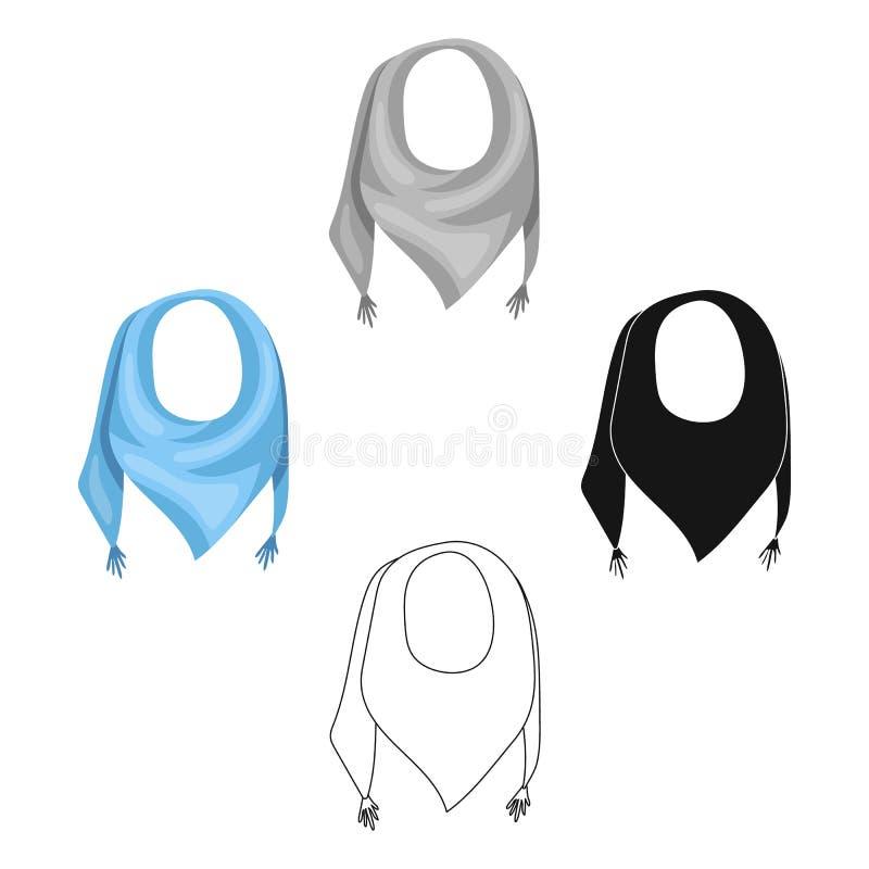 从太阳的蓝色夏天班丹纳花绸 与结的班丹纳花绸在末端 在动画片,黑样式的围巾和披肩唯一象 皇族释放例证