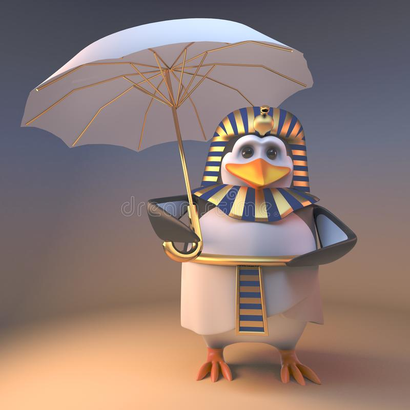 从太阳的豪华企鹅法老王Tutankhamun避难所在一把金黄伞,3d下例证 向量例证