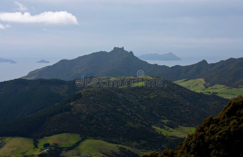 从奥林匹斯山试验的一个看法在檀香山之外 在旺阿雷附近的Manaia在北岛在新西兰 库存图片