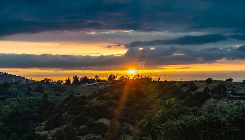 从好莱坞加利福尼亚的日落 免版税库存图片