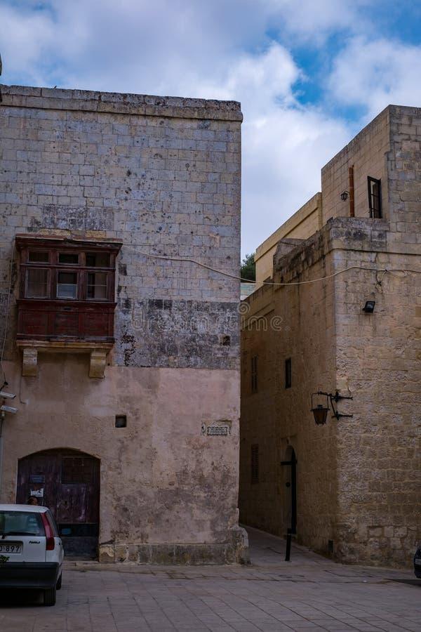 从姆迪纳,马耳他-沈默城市的街道场面 免版税图库摄影