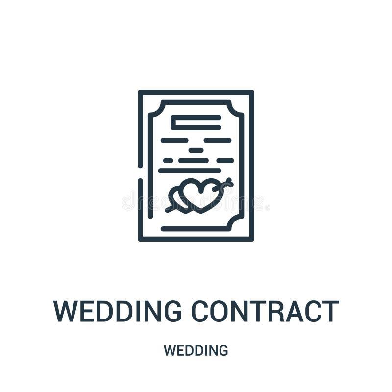 从婚姻的收藏的婚姻的合同象传染媒介 稀薄的线婚礼合同概述象传染媒介例证 线性标志 皇族释放例证