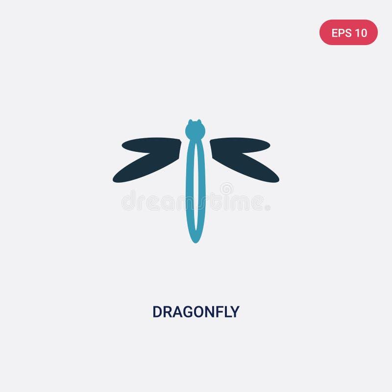 从季节概念的两种颜色的蜻蜓传染媒介象 被隔绝的蓝色蜻蜓传染媒介标志标志可以是网的用途,流动和 皇族释放例证