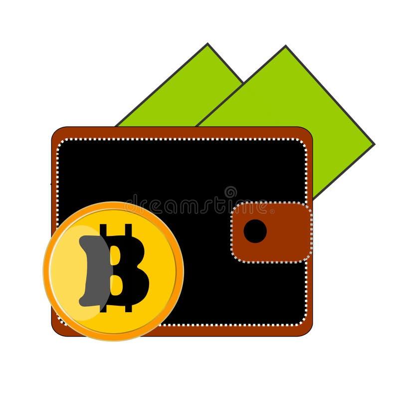 从它的黑钱包钱包我注视着绿色美金两张钞票,底部是硬币Bitcoin黄色 免版税库存图片