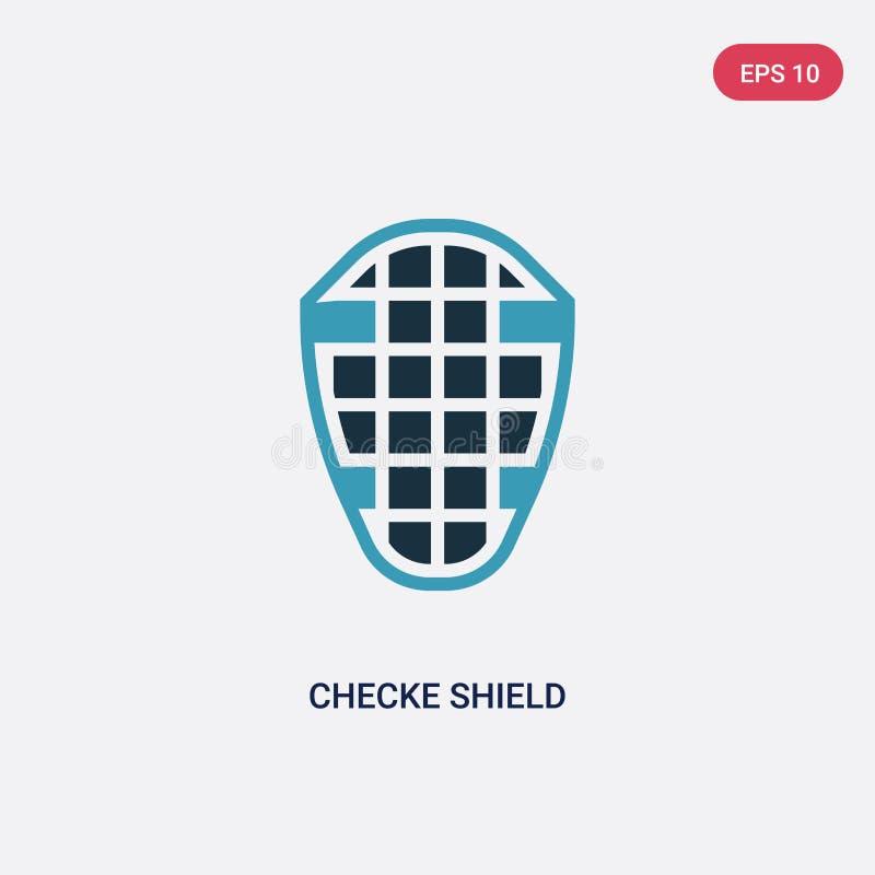 从安全概念的两种颜色的checke盾传染媒介象 被隔绝的蓝色checke盾传染媒介标志标志可以是网的用途, 皇族释放例证