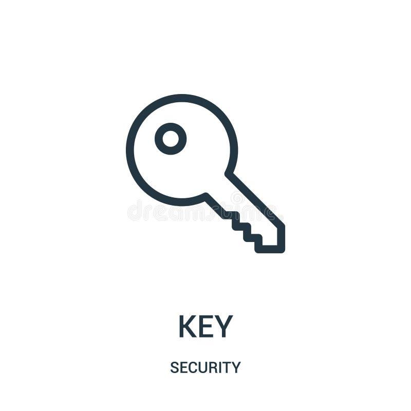 从安全汇集的关键象传染媒介 稀薄的线钥匙概述象传染媒介例证 向量例证