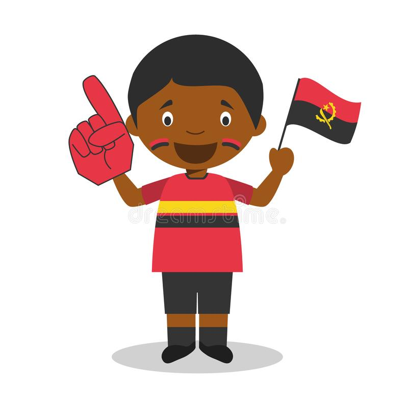 从安哥拉的全国体育队爱好者有旗子和手套传染媒介例证的 库存例证