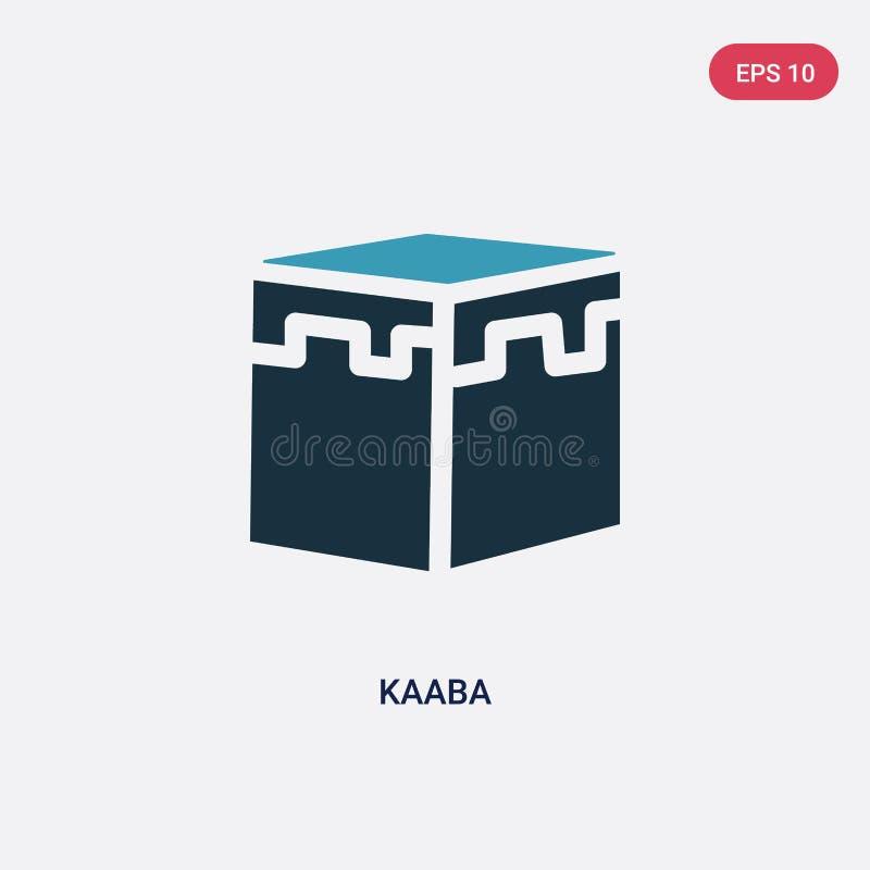 从宗教2概念的两种颜色的kaaba传染媒介象 被隔绝的蓝色kaaba传染媒介标志标志可以是网、机动性和商标的用途 向量例证