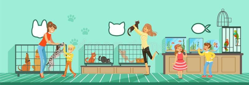 从宠物商店例证的人买的宠物在平的样式 向量例证