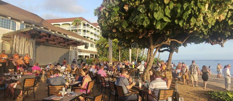 从宴餐的一个场面在福牛乐乐Luau,毛伊,夏威夷 库存照片