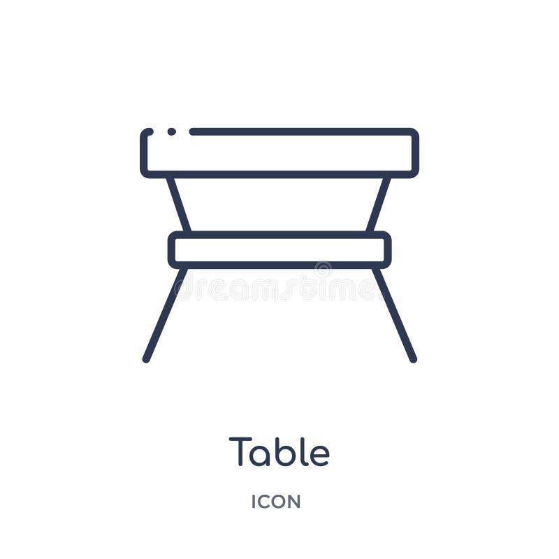 从家具概述汇集的线性桌象 稀薄的线在白色背景隔绝的桌象 桌时髦例证 皇族释放例证