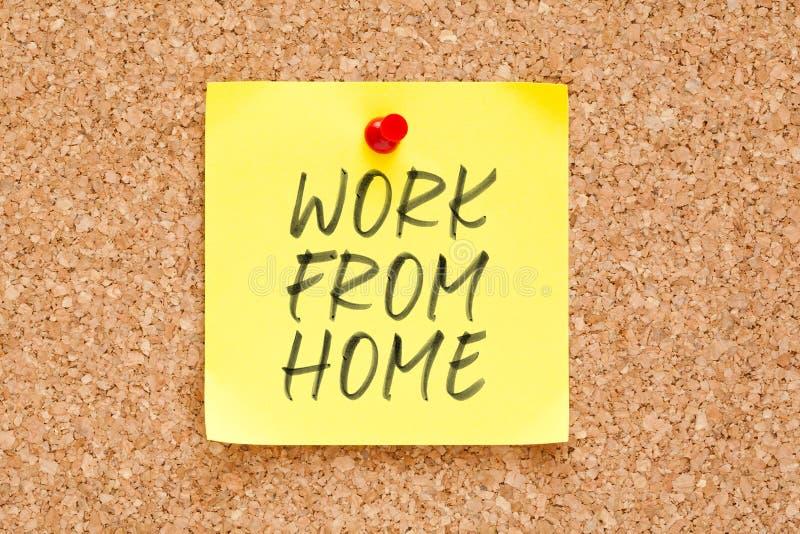 从家的工作手写在稠粘的笔记 库存照片